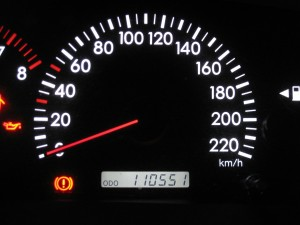 A picture of a car's mileage