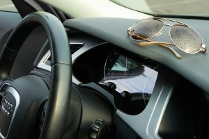 A picture of sunglasses in a car