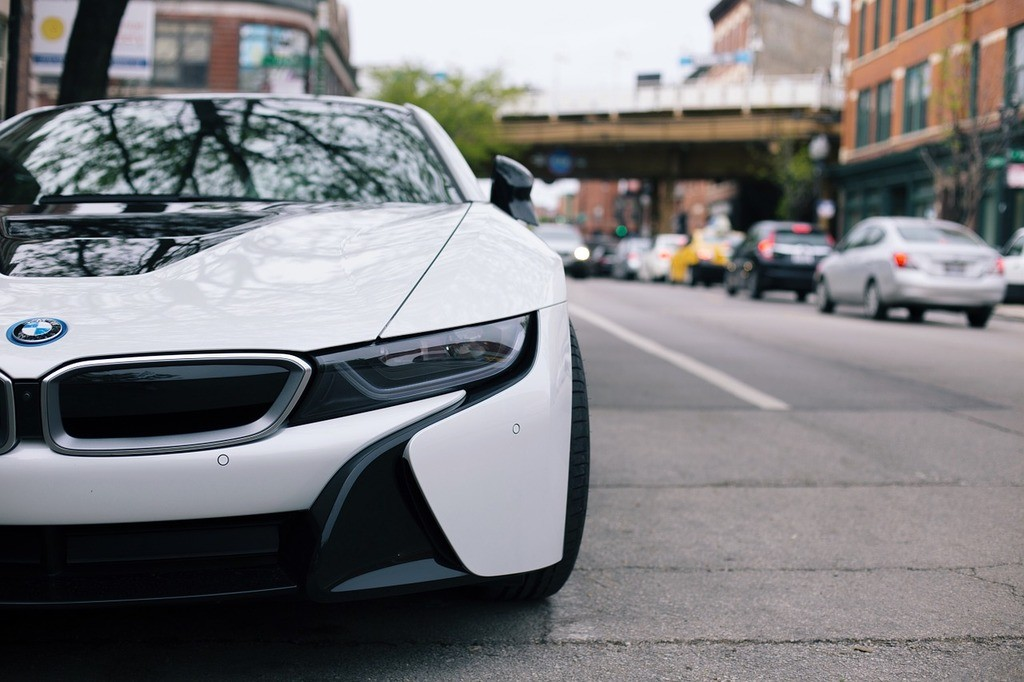 an image of a white and black BMW i8