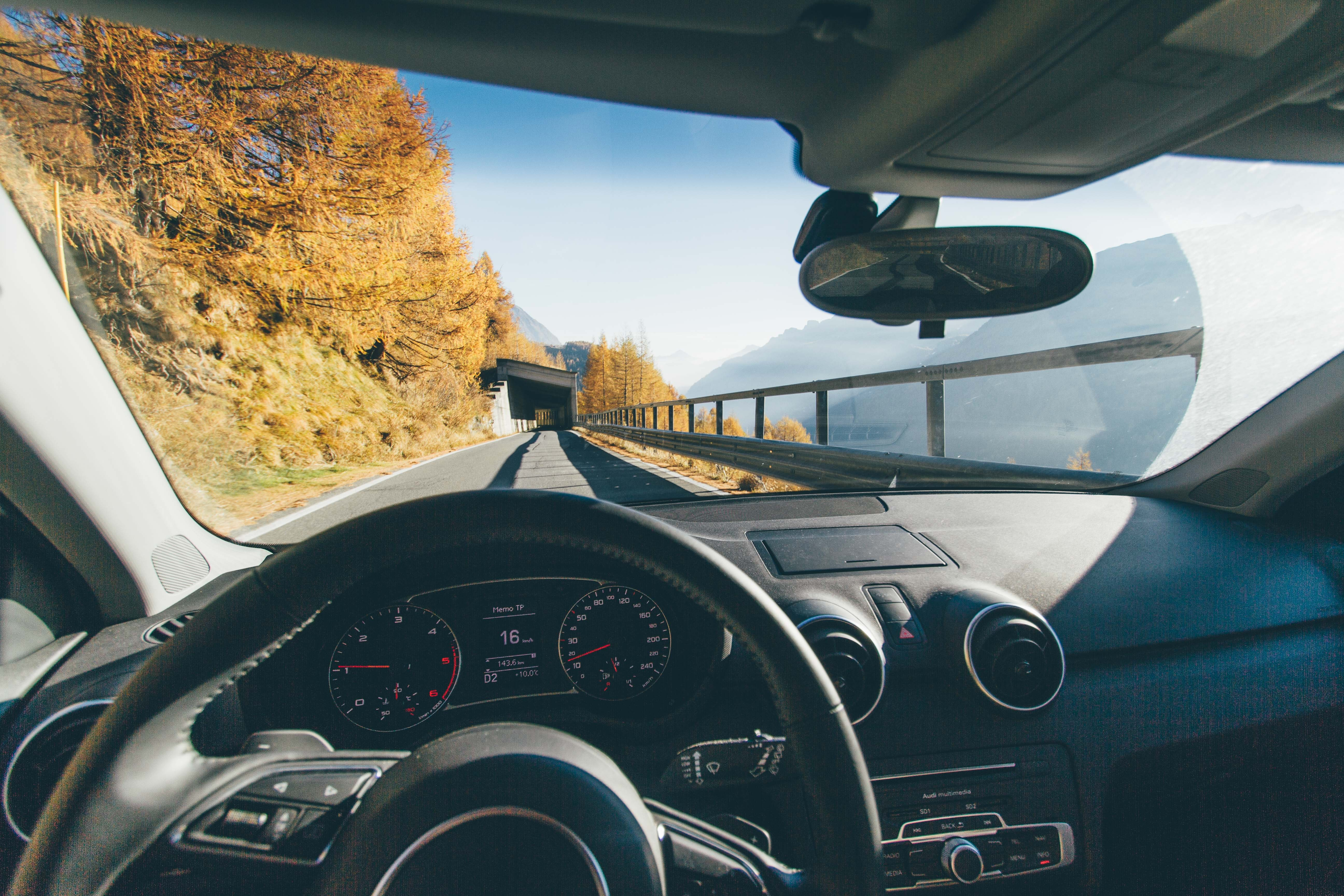 An image of a car steering wheel and dashboard, with picturesque views in the windscreen